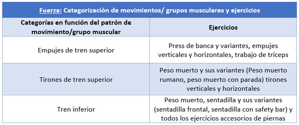 Ejercicios en función del patrón de movimiento o grupo muscular.